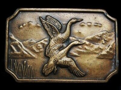 MG07108 VINTAGE 1970s **GEESE FLYING OVER MOUNTAIN LAKE** BRASSTONE BELT BUCKLE