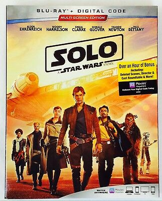 SOLO A STAR WARS STORY Blu Ray Dvd + Digital Code New Factory Sealed