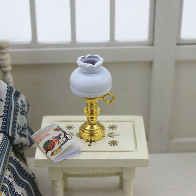 Dollhouse Miniature table Lamp Furniture Toy Pretend Play LED Light