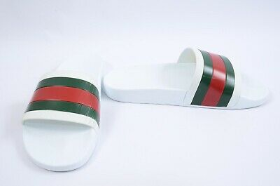 50aed52bc Gucci Pursuit 72 white multi 10 rubber web stripe slide sandal UK9 shoe  210