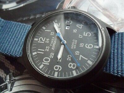 Men's Timex Expedition WR 50M Indiglo 24 Hour Military Watch w/ Blue NATO Strap