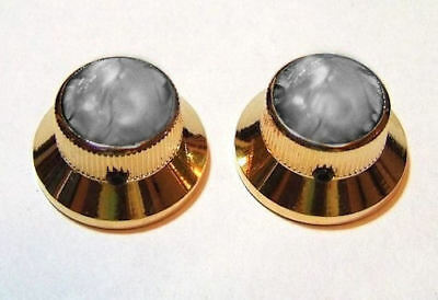 Guitar Hardware METAL TOPHAT Skirt KNOBS - SMOKE PEARL TOP - Set 2 - GOLD