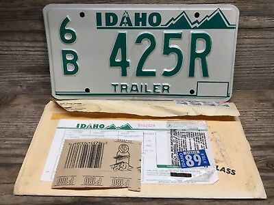1987 Idaho Trailer License Plate Mint w/ DMV Slip, Tag And Envelope