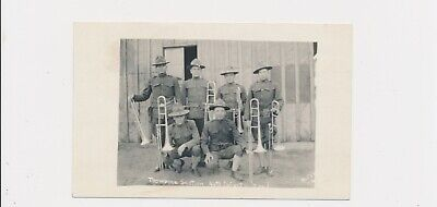Rare Vintage RPPC Trombone Section 44th Infantry Band Musical Soldiers 6 Instr.
