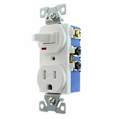 Eaton Cooper Tr274W-Sp-L Combo Toggle Switch & Receptacle, Tr, 15A, 120V, White