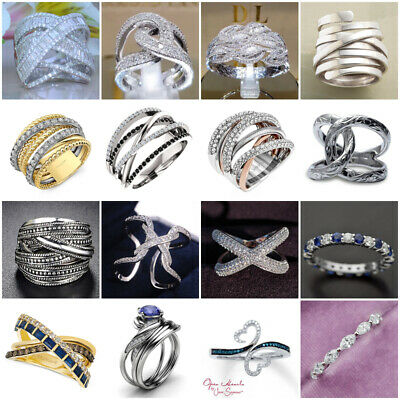 Luxury Women Silver Plated Jewelry Wedding Rings White Sapphire Ring