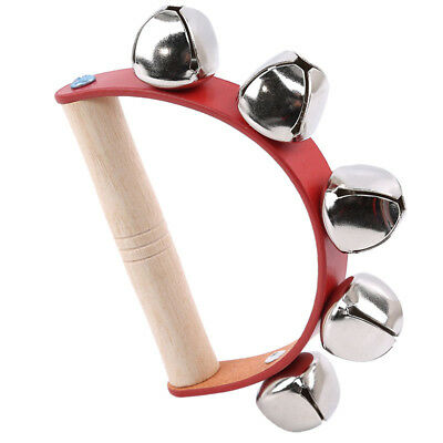 Wooden Musical Instrument Jingle Bells Hand Rattle Kids Baby Educational Toy BS
