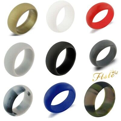 Silicone Rubber Wedding Ring Flexible Band Comfortable Elegant Active Sport Gym