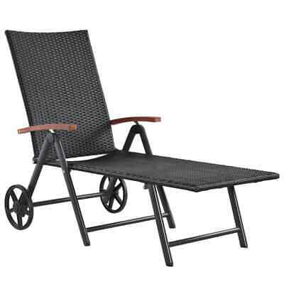 vidaXL Sunlounger Poly Rattan and Solid Acacia Wood 150x66x107cm Black Daybed