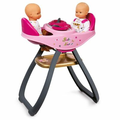 Smoby Baby Nurse Twin High Chair Doll Seat Role Play Toy Kids Learning 220315