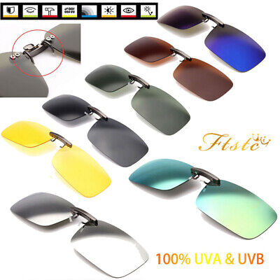 UV400 Sunglasses Lens Clip On Flip-up Polarized Driving Glasses Day Night Vision
