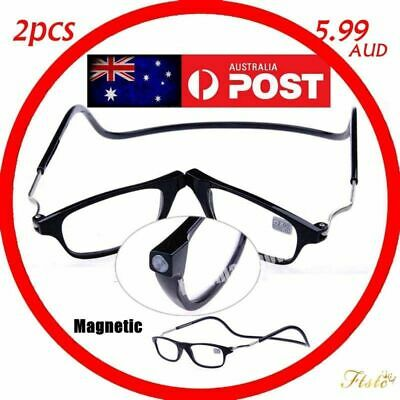 Mens Ladies Magnetic Magnifying Reading Glass Folded Hanging Spectacle 1.0~4.0