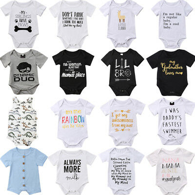 UK Stock Newborn Baby Boy Girl Romper Bodysuit Playsuit Cotton Clothes Outfits
