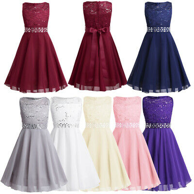 Kids Flower Girl Princess Dress Sequins Party Wedding Bridesmaid Formal Dresses