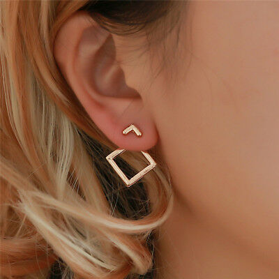 Women Minimalist Triangle Earrings Hollow Square Ear Studs Geometric Earring Z
