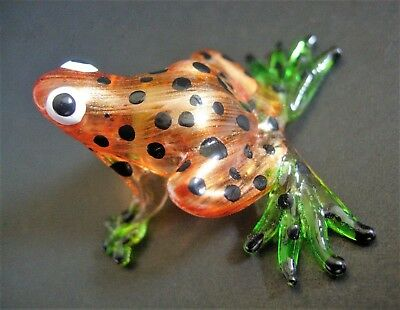 Glass FROG Golden Brown Spotted Frog Painted Glass Animal Glass Ornament Gift