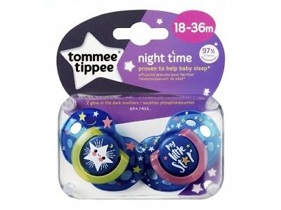 2 X 18-36M Tommee Tippee Glow In The Dark Night Time Little Star Soother Dummies