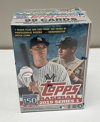 2019 Topps Series 1 Baseball Sealed Retail BLASTER BOX 7 packs + 1 patch relic