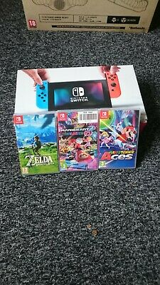 Nintendo Switch 32GB Neon Red/Neon Blue Console with games (excellent condition)