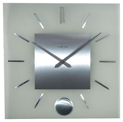 Nextime Wall Clock Stripe Pendulum Square 40x40cm Glass Stainless Steel