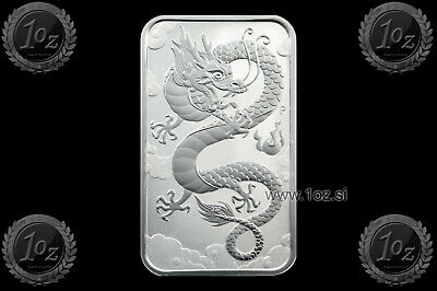 AUSTRALIA $1 DOLLAR 2019 ( ORIENTAL DRAGON ) 1oz RECTANGULAR SILVER Coin * UNC