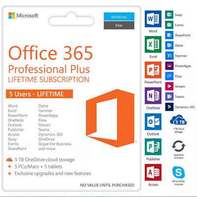 INSTANT Microsoft Office 365 2016 2019 Pro Key PC/Mac 5TB User Lifetime ESD