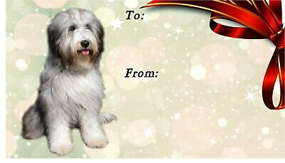 Bearded Collie Dog Self Adhesive Gift Labels by Starprint