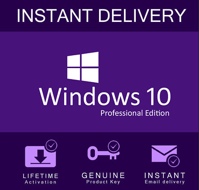 INSTANT Microsoft Windows 10 Pro Key Product Key License Code 32 / 64 bit