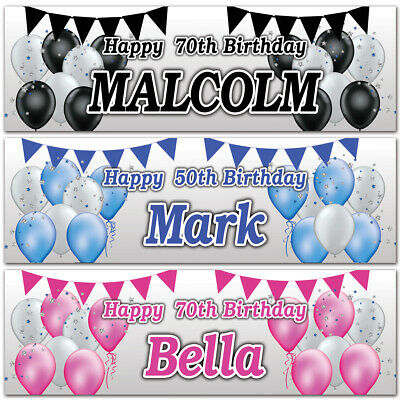 2 Personalised Birthday banner Balloon Star Bunting Kids Adults Party Poster