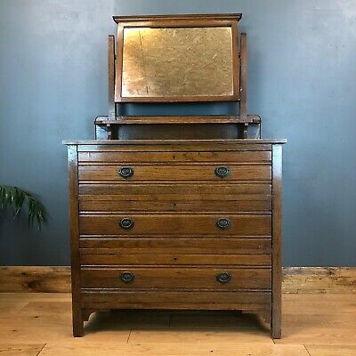 Antique Arts & Crafts Chest Of Drawers Oak Mirror Vintage Dressing Table Bedroom
