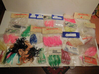 HUNDREDS of Rubber Soft Plastic Squid Bass Lure Lot - multiple sizes & colors