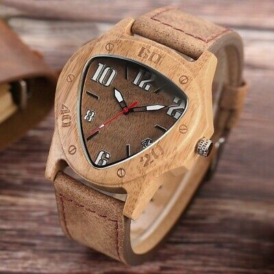 Men's Real Natural Bamboo Wood Wooden Watch Leather Vintage Quartz Wrist Watches