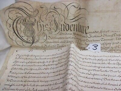 1771 George III Land Indenture Vellum Between J Steele & R Allan Darlington