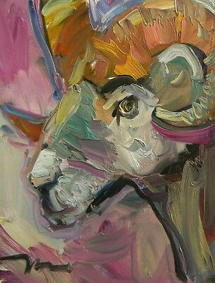 Jose Trujillo Oil Painting Ram Horns Abstract Expressionism Colorful Canvas Art