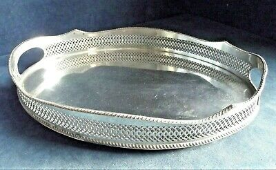 "GOOD 14"" ~ SILVER Plated ~ Georgian Style ~ GALLERY TRAY ~ c1900 ~ 36 x 26cm"