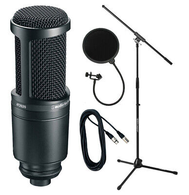 Audio Technica AT2020 Condenser Mic with Stand, Pop Shield and Cable