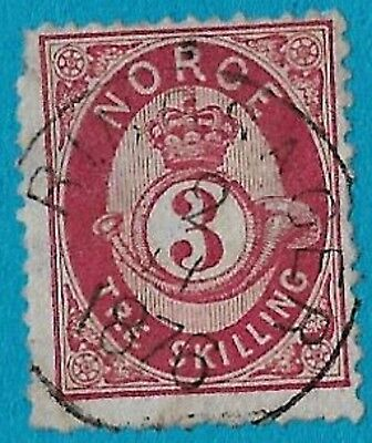 + 1872 Norway Scandinavian Crown Post Horn Skilling #18 A5 3s Sotn Ringsager