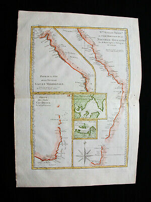 "1787 BONNE ""amazing map"" NEW SOUTH WALES, AUSTRALIA, VAN DIEMEN'S LAND, TASMANIA"