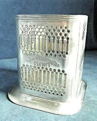 GOOD Old ENGLISH Made ~ SILVER Plated ~ Jack DANIELS ~ Pierced BOTTLE COASTER