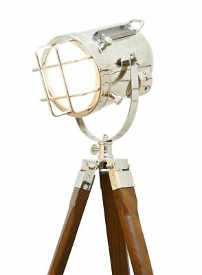 Vintage Nautical Electric Floor Searchlight W/wood Tripod Stand Spotlight Lamps