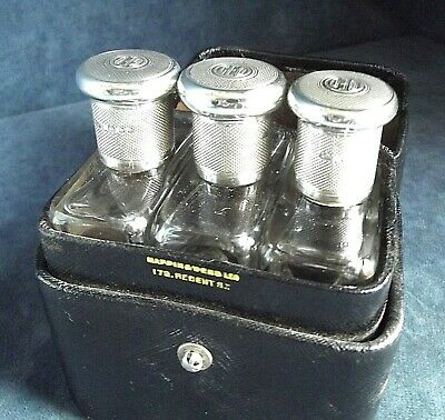 SUPERB Cased SET ~ Solid SILVER Topped ~ Scent / Lotion BOTTLES ~ London 1923