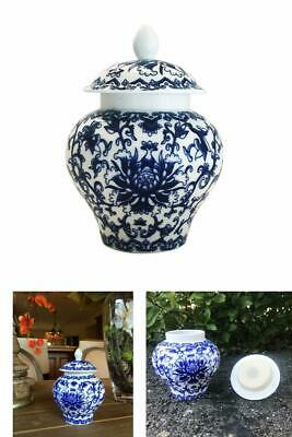Chinese Porcelain Antique Vase Ancient Style Blue White Tea Storage Helmet shape