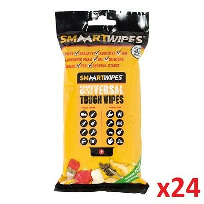 24 x 30pk Universal Tough Wipes Cleans Dirt Paint Tar Ink Cleaning Sealent New