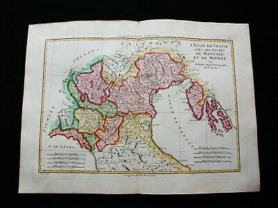 "1787 BONNE ""amazing map"" NORTH-EAST ITALY, VENETO, MANTOVA MODENA TRIESTE VENICE"