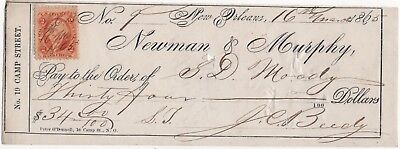 New Orleans LA Newman & Murphy 1866 Antique Bank Check Tax Stamp SD Moody