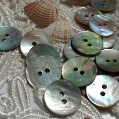 100 PCS / Lot Natural Mother of Pearl Round Shell Sewing Buttons 10mm BB S!