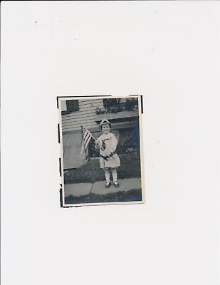 1920  Girl and her Patriotic  American Flag