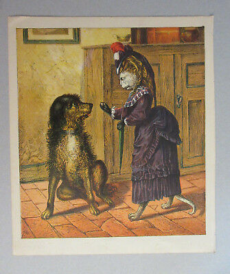 Cat Dressed In Victorian Clothes With Pet Dog Antique  Lithograph Art Print 1870