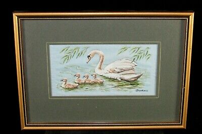 J&J.Cash's Silk Embroidered Picture Mute Swan & Cygnet,Framed,Jacquard Loom Art