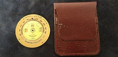 BRASS POCKET WEATHER FORECASTER BRASS BAROMETER WEATHER FORECAER & Leather Pouch